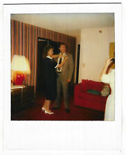 Vintage 80s Polaroid PHOTO Woman w/ Camera Taking Pic Of Couple For Event