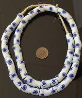 Amazing Ghana African Opaque White Blue Eye Recycled glass trade beads-Ghana