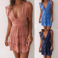 ❤Women Summer Polka Dot Mini Dress Ladies Sleeveless V Neck Beach Swing Sundress