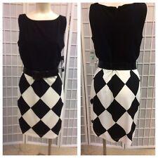 Muse Woman Dress Black White Size 8 New Classic Elegant