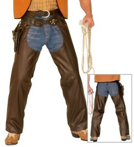 Brown Chaps Camp Rocker Wild West Cowboy Fancy Dress Costume M/L + XL