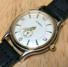Vintage Fossil Lady Dual Tone Small Seconds Analog Quartz Watch Hour~New Battery