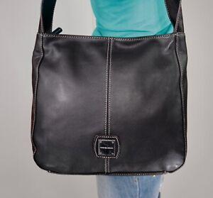TIGNANELLO Medium To Large  Black Leather Shoulder Hobo Tote Satchel Purse Bag