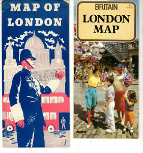 Lot 3 London Tourist Maps 1950s 1980s and Britain Motorist's Routeplanner 1984