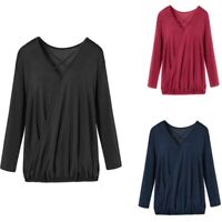 Long Sleeve Casual Loose Tops Ladies Blouse Women's T-shirt Shirt Solid Summer