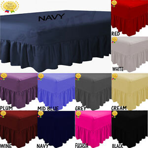 Plain Dyed Deep Fitted Valance Sheet Poly-Cotton Sheet Single Double King s.king