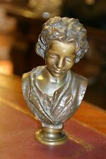 ORIGINAL PERIOD FRENCH PATINATED BRONZE STATUE FIGURINE  BOY CIRCA.1880 SIGNED