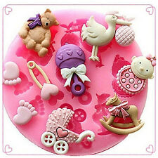 Baby Shower Silicone Fondant Cake Mould Mold Chocolate Baking Sugarcraft DecorLW