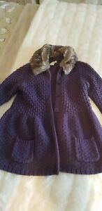 Monsoon Girls Purple Knit Bell Sleeve Cardigan Age 9-10