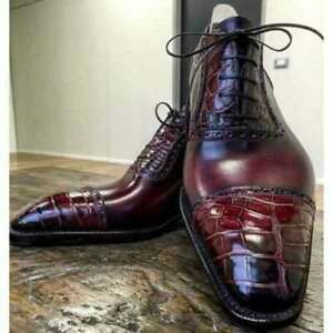 Handmade Men's Burgundy Crocodile Textured Leather Oxford Cap Toe Lace up Shoes