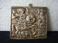 RRR RARE Vintage  Russian Old Icon St.George Killing The Dragon Silver Plate