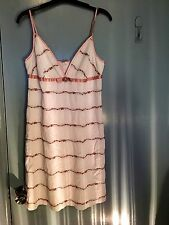 Moss & Spy white strappy dress with pink roses in size 10