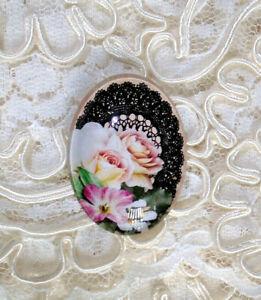 Roses & Black Lace 30X40mm Glitter Unset Handmade Glass Art Bubble Cameo Cab