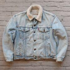 Vintage Levis Denim Sherpa Trucker Jean Jacket Size M S Made in USA 90s