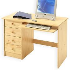 Bureau enfant multi rangements tiroirs support clavier pin massif vernis naturel