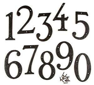 "6""/150mm LARGE HEAVY BLACK ANTIQUE DESIGN CAST IRON HOUSE DOOR NUMBERS NUMERALS"