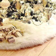 Tappeto Bianco Rotondo 78 cm Gonna Base Albero di Natale in Pelliccia per Regali