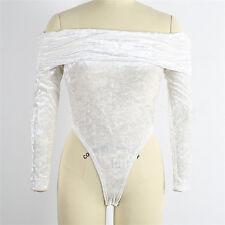 Women's Bodycon Off Shoulder Velvet Shirt Jumpsuit Bodysuit Thong Leotard Romper