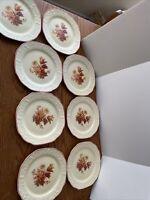 Crooksville Pantry Bak-In Rust Bouquet Autumn Luncheon Plate 7 Inch Set Of 8