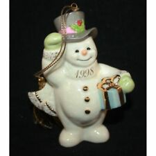 Lenox 1998 A Frosty Morning Annual Porcelain Snowman Christmas Ornament with box