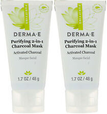 (2) Derma E Purifying 2-in-1 Activated Charcoal Mask Face Mask 1.7 oz Exp 8/2020