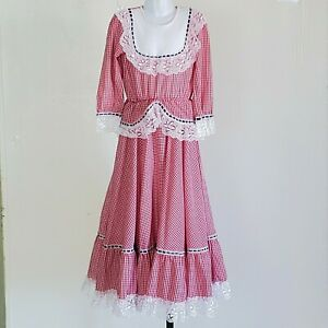Girls Prairie Dress Red Checked Lace Handmade 10