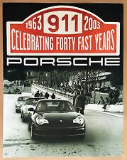PORSCHE OFFICIAL 996 911 40th ANNIVERSARY DEALER SHOWROOM POSTER 2003 - 2004.