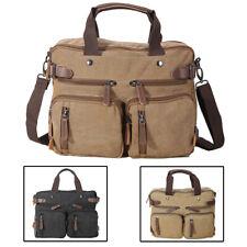 """Men Leather Canvas Backpack Shoulder Bag Satchel 14"""" Laptop Crossbody Sling Bag"""