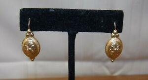 Vintage14kt gold Candela (Spain) Cable Drop Pierced Earrings  CJI 2.0 gr