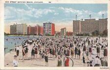 Postcard Oak Street Bathing Beach Chicago IL