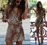Zara Leopard Print Playsuit Jumpsuit Size Medium