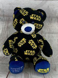 "Build A Bear Star Wars Logo Teddy 17"" Black Yellow & Blue Plush Collectible 2016"