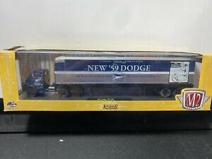 1/64 M2 AUTO-HAULERS 1957 DODGE 700 COE & 59 DODGE TRAILER BLUE & SILVER