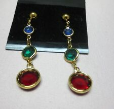 14KT GOLD EP 3 GEMSTONE COLORS GENUINE AUSTRIAN CRYSTALS DROP EARRINGS, E-111