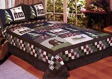 New 3 Pc Mountain Cabin Deer Fish Moose Queen Quilt & Matching Pillow Shams