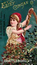 1880's Lady Harp G. A. Barlow Estey Organ Co. Brattleboro, VT Trade Card P122
