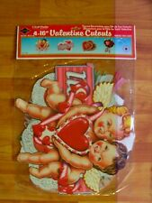 """Valentines Diecut Cutouts Decoration 1990 Beistle Four Pack of 16"""" Nos"""
