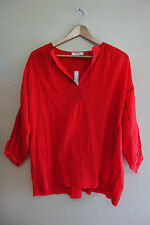 Madewell openview tunic red top blouse popover XXS XS 0 2 oversized shirt cotton