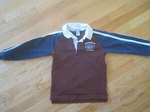 Boy GYMBOREE BURGUNDY w/ NAVY BLUE SLEEVES FOOTBALL COLLAR SHIRT GUC 6