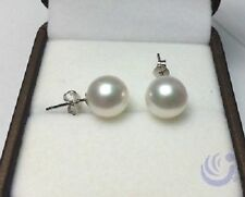 PERFECT Round 9-10 MM AAA+ Real WHITE AKOYA PEARL STUD EARRINGS 14K WHITE GOLD