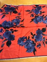 $58 VINCE CAMUTO 100% SILK red  FLORAL SCARF #122