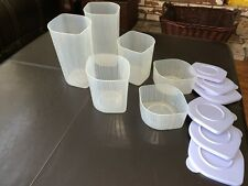 Vintage Tupperware Fresh N Cool Containers Set of 6 Sheer Blueberry Mist-Used