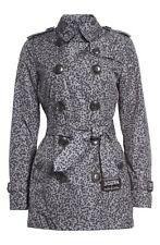 NWT Burberry Brit Kerringdale Belted Short Trench Coat Gray Splatter $995 US 14