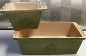 2 Tastefully Simple Host collection Green Leaf Loaf Dish & Square Dip Bowl Dish