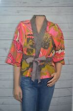 Trina Turk Silk Linen Blend Floral Asian Chic Belted Kimono Jacket Top Size 4