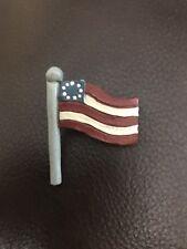 Patriotic Wood USA American Flag Logo Pin Classic Cool Vintage