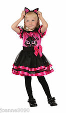 Girls Toddler Pink Kitty Cat Halloween Fancy Dress Tutu Costume + Ears Age 2 - 3