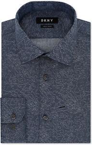 Dkny Men's Slim-Fit Stretch Blue Print Dress Shirt Size: 17 1/2 (32/33)