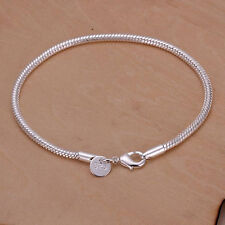 Mens Womens 925 Sterling Silver Plated Snake Chain Bangle Fashion Bracelet #B325