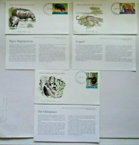 World wildlife fund WWF set 3 first day covers FDC 1976 Liberia + cards